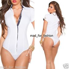 Trendy Short Sleeve Blouse Body Top in White with Dots.UK 8.10.12.14.