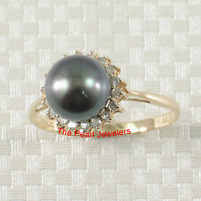 14k Solid Yellow Gold Peacock F/W Cultured Pearl; Diamonds Cocktail Ring TPJ
