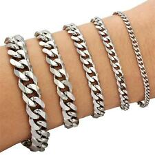 New Men Silver Punk Stainless Steel Chain Bracelet Bangle Wristband Jewelry Hot