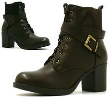 LADIES WOMENS COMBAT ARMY MILITARY BIKER HEEL LACE UP WORKER ANKLE BOOTS
