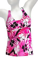NWT MIRACLESUIT Separates, LAGOON Floral Tankini (Top Only), Pink,  10   12   14