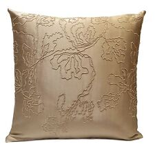 Beige Satin Blend Decorative Throw Pillow Cover w/ Floral detail pattern,Modern