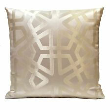 Off White (Ivory) Satin Blend Decorative Throw Pillow Cover w/ pattern,Toss
