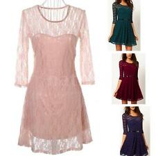 Womens Sexy Lace Skater Dress Half Sleeve Scoop Neck Dress Mini Party Dress 0R0Y