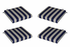 Set of 4 In / Outdoor Foam Seat Cushions Navy Blue White Stripe - Choose Size