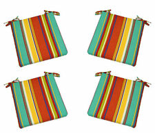 Set of 4 In / Outdoor Foam Seat Cushions Coral Teal Yellow Stripe - Choose Size