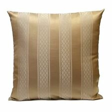 Beige Silk blend Decorative Throw Pillow Cover with Light Gold Stripe Pattern