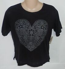 Womens AEROPOSTALE Flower Heart Lattice Back Tee T-Shirt NWT #7144