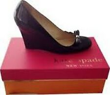 Kate Spade Kaci Patent Black Leather Bow Gold Pyramid Wedge Pump New $328