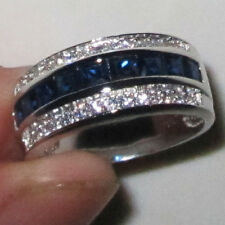 Size 8-13 Handmade Men's Jewelry Blue Sapphire 10kt White Gold Filled Band Ring
