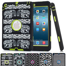 Hybrid Heavy Duty Pattern Rubber Shockproof Hard Case Cover Fo iPad / mini / Air