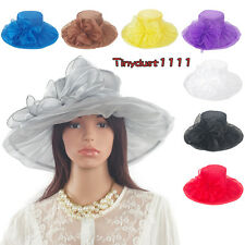 Women Kentucky Derby Church Dress Organza Party Hat Wide Brim Sun Flat Hats Caps
