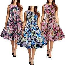 1950s 60s Housewife Retro Vintage Swing Rockabilly Pinup Floral Prom Party Dress