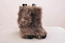 NWOB. $2415 BRUNELLO CUCINELLI WOMEN'S LEATHER OPEN TOE BOOTS WITH FUR EXTERIOR