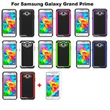 Hot Pink Hybrid silicone Hard Case Cover Samsung Galaxy Grand Prime + Protector