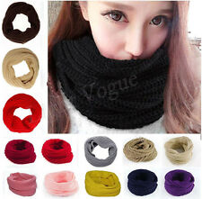 Women Winter Warm Infinity Circle Cable Knit Cowl Neck Long Scarf Shawl wrap