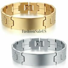 Men Wide Smooth Stainless Steel Bracelet Charm Wristband Chain Bangle 8.1 inches