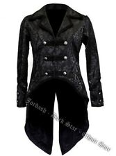 MENS WOMENS TAIL COAT BLACK BROCADE STEAMPUNK GOTHIC ROCK PIRATE MILITARY