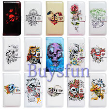 Bcov Skull Flower Owl Pattern Leather Wallet Cover Case For Samsung Galaxy