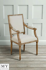 French Louis Style shabby chic OAK Rectangular Back Dining Occasional ArmChair