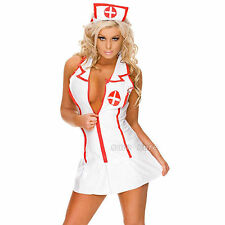 Sexy Womans Ladies Naughty Nurse Costume Hen Fancy Dress Party Outfit Cosplay