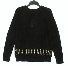 NWT $110 - MICHAEL KORS Long Sleeve Sweater, Black w/ Gold Studs, Size XS and S