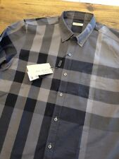 Burberry Brit Exploded Check Men`s Shirt Ship Worldwide New with Tags Gray