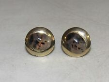 VTG Pair Cuff Links Smokey Glass Black Gold Tone Cufflinks Designers Set
