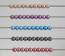 10 x ALUMINIUM RONDELLE  PATTERNED BEADS  VARIOUS COLOURS EUROPEAN BRACELET