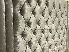 """EPIC SILVER VELVET CRUSHED CHESTERFIELD WALL MOUNTED HEADBOARD 42"""" HEIGHT"""