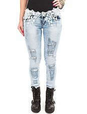 Ladies Skinny Jeans Crochet Denim Pants Trousers light Used Look with lace
