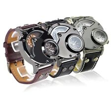 OULM Men Military Quartz Wristwatch Leather Band Stainless Steel Dial Dual Time