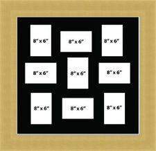 NEW MULTI APERTURE PICTURE FRAME FITS - 8X6 9  PHOTOS Black Mount Made in UK
