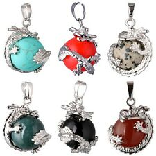 Unisex Colorful Gemstone Bead Dragon Claw Wrap Inlaid Ball Pendant For Necklace