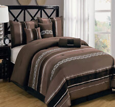7pc Claudia Chocolate Brown Luxury Bedding Comforter Set Pillows Shams & Skirt