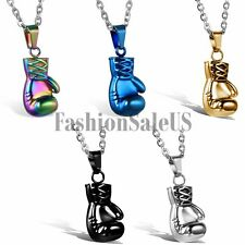 """Vintage Stainless Steel Boxing Glove Pendant  Mens Charm Necklace With 22"""" Chain"""