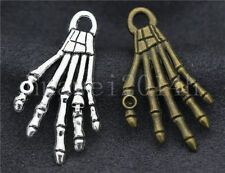 5/20/100pcs Antique Silver Skull Ghost Hand Jewelry Charms Pendant DIY 35x20mm