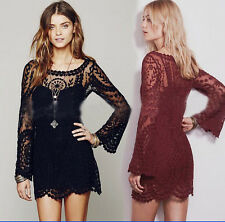New Semi Sexy Sheer Sleeve Embroidery Floral Lace Crochet Dress Top Blouse