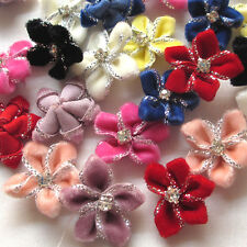 40/200PC Velvet Ribbon Flowers Bows W/Rhinestone Appliques Wedding 25mm Mix