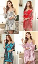 2PCS New Sexy Satin Silk Women's Pajama Sleepwear Nightdress Robe & Gown Sets