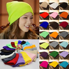 Men's Women Beanie Knit Ski Cap Hip-Hop Solid color Winter Warm Unisex Wool Hats