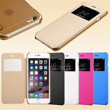 Flip Leather Wallet View Window Skin Case Cover for iPhone / Samsung / HTC Phone