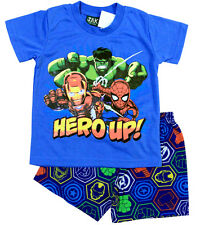 NEW Sz 2~8 BOYS SUMMER PJ PJS MARVEL AVENGERS PYJAMAS KIDS SLEEPWEAR TOP T-SHIRT