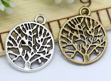 10/40/200pcs Tibetan Silver Life Tree Jewelry Finding Charms Pendant 20x16mm