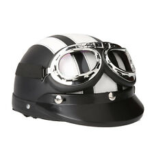 Motorcycle Scooter Open Face Half Leather Helmet with Visor UV Goggles 54-60cm