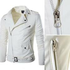 Mens Slim Fitted PU Leather Biker Overcoat Jacket Motorcycle Coat Outwear A30