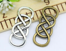 6/30/150pcs Antique Silver Double 8 Eight Infinity Charms Connectors 32x12mm