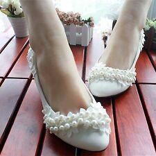 White Pearl Ladies Wedding Bridal Shoes High Heels Mary Evening Party Lace NEW
