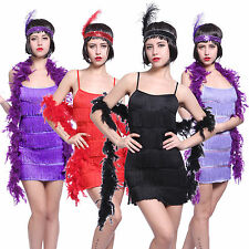 Ladies 20s 30s Charleston Fringe Flapper Fancy Dress Costume Gatsby Outfit