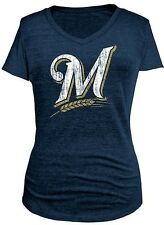 Milwaukee Brewers MLB Majestic Womens Her Keeper Navy Blue Shirt Plus Sizes